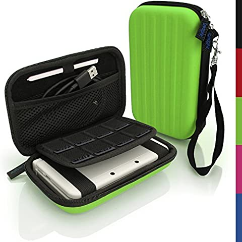 igadgitz Verde EVA Rígida Funda Carcasa para Nuevo Nintendo 3DS XL (Todas las Versiones) Viaje Case Cover con Correa