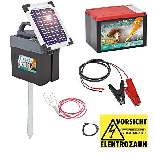 *Weidezaungerät 9V von VOSS.farming inkl. Batterie, Solar, Zubehör, passend für den Elektrozaun und Weidezaun ihr Begleiter für die Weide*