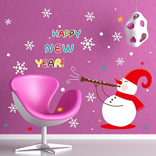 UberLyfe Happy New Year With Snowman and Snow Flakes Wall Sticker Size 4 (Wall Covering Area: 100cm x 135cm) - WS-000478_01
