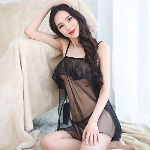 LWYQQNY DFHHG® Sexy Sexy Unterwäsche Schnürsenkel Lingerie Brustvergrößerung Extreme Versuchung Adult Pyjamas Sexy Dessous (Farbe : Schwarz)