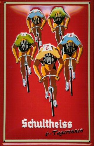 Blechschild Schultheiss Bier Berlin 6 Tage Rennen Radrennen Fahrrad retro Nostalgie Schild (Retro-rennen)