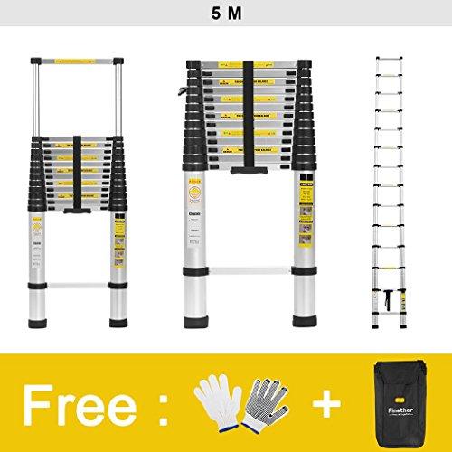 Finether 5M Échelle Télescopique Portable et Pliante Echelle Escamotable Polyvalent Multi-Fonction en Aluminium, 14 Echelons,...