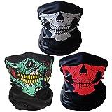 Ritche Nero Gas traspirante senza cuciture tubo teschio viso maschera, 3 pezzi moto gesichtsschtuz, colorati, bianco (Style-002)