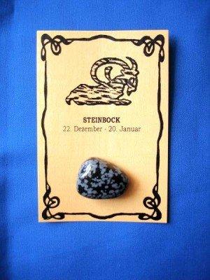 Glücksstein Steinbock Schneeflocken Obsidian