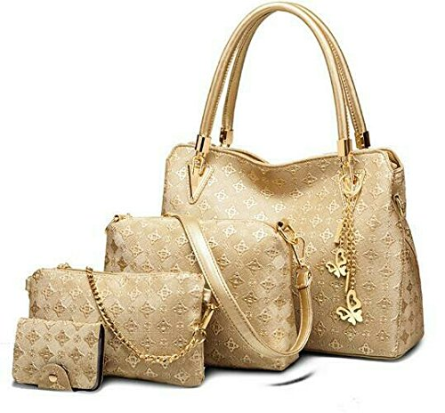 VEZELA 4 Pieces Lady Womens PU Leather Shoulder Bags Top Handle Cross Satchel Handbag Combo Set (Golden)