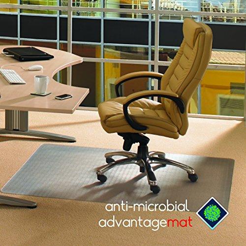 Floortex Advantagemat Anti-Microbial PVC Chair Mat for Standard Pile Carpets up to 9mm Thick, 120cm x 150cm, Rectangular, Clear (FCAB1115026EV)