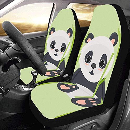 2PCS Panda che mangia bambù Custom New Universal Fit Auto Coprisedili per auto Protector Auto Jeep Truck SUV Veicolo