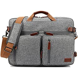 CoolBell umwandelbar Rucksack Messenger Bag Umhängetasche Laptop Tasche Handtasche Business Aktentasche Multifunktions Reise Rucksack Passend für 17,3 Zoll Laptop/Männer / Frauen(Grau)