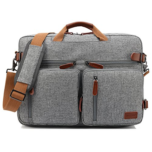 Coolbell 17,3 pollici convertibile Borsa Zaino Borsa messenger per pc e portatile/Mac-book/HP / Dell/uomo / donna/affari (Grigio)