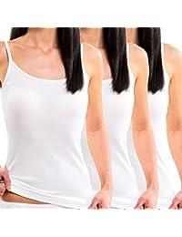 HERMKO 1560 3er Pack Damen Träger Top aus 100 % Baumwolle