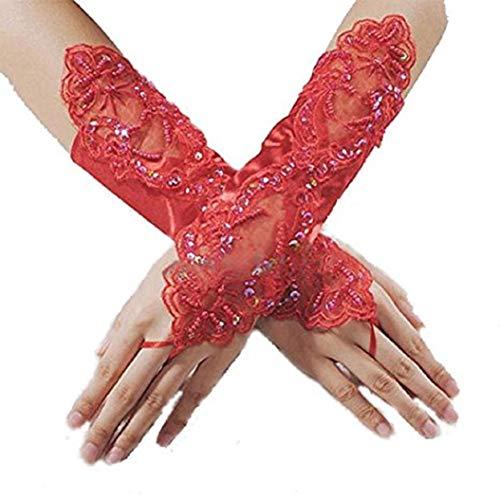 Kostüm Perlen Satin - Ogquaton Braut-Hochzeitsfest-Kleid-fingerloses Perlen-Spitze-Satin-Brauthandschuh-Kostüm-erstklassige Qualität