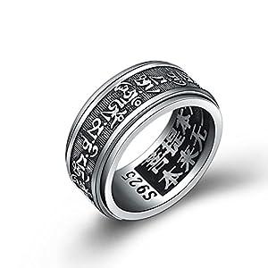LOUMVE Herren Ring Punk S925 Sterling Silber Frühlings Rings Buddhistischen Mantra Om Mani Padme Hum 10MM