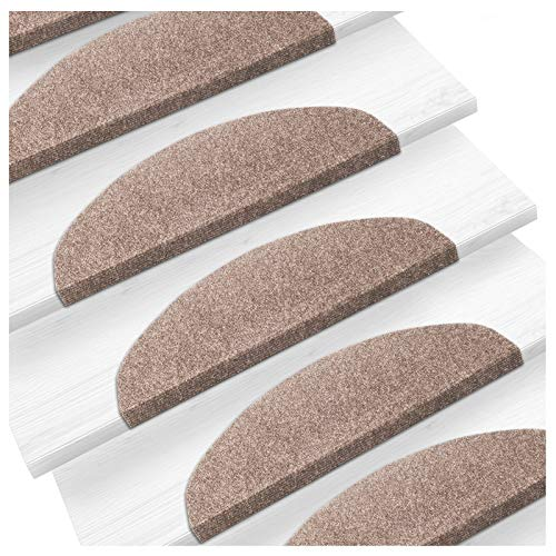 Set de 15 marchettes d'escalier etm | surface confortable et antidérapante | taille 23x65cm | couleurs diverses