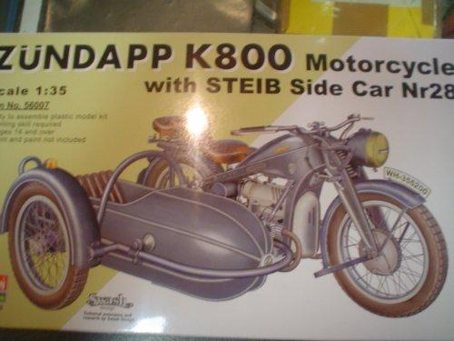 VULCAN Scale Models 56007 - Modellbausatz Zundapp K800 Motorcycle mit Steib 28 Side Car
