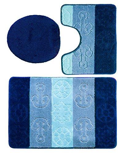 3 teiliges Badgarnitur Set Titanik Muster mit Ausschnitt - Badteppich 85x55 Badematte (Dunkelblau-Blau-Hellblau)