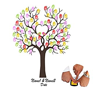 Fingerprints Tree Astarye Canvas DIY Guest Sign-in Book Creative Painting poster for Wedding Birthday Party with 2pcs Ink Pad