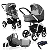 Bebebi Fizzy | ISOFIX Basis & Autositz | 4 in 1 Kombi Kinderwagen | Farbe: Stone Hartgummi