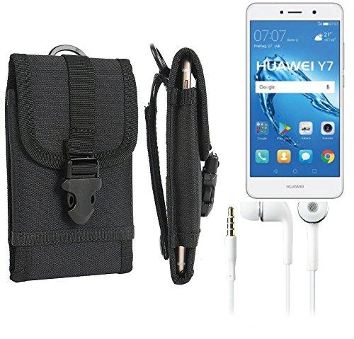 K-S-Trade Schutzhülle für Huawei Y7 Dual SIM Gürteltasche Gürtel Tasche extrem robuste Handy Schutz Hülle Tasche Outdoor Handyhülle schwarz 1x + Kopfhörer
