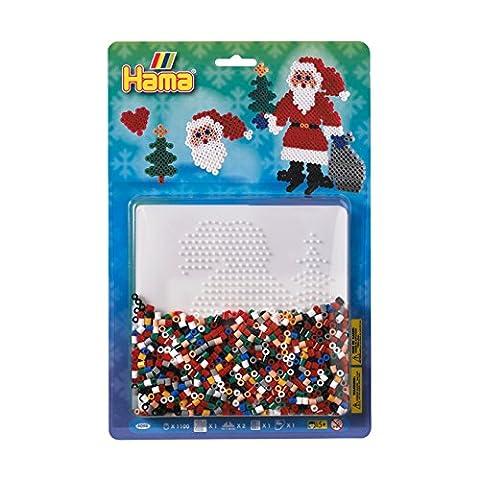 Hama 4098 - Bügelperlen Perlenset Weihnachtsmann, circa 1100 Perlen, 1 Stiftplatte Zubehör