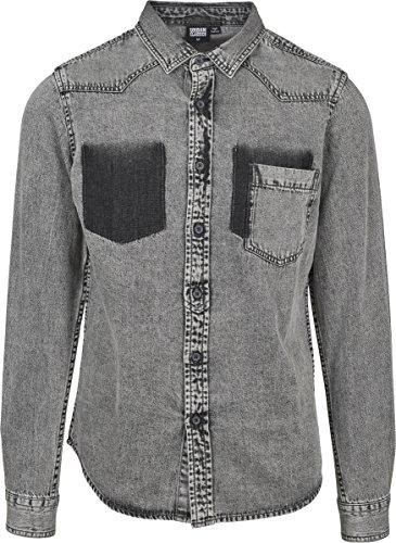 Urban Classics Herren Jeanshemd Denim Pocket Shirt, Grau (Grey Wash 01378), Large (Herstellergröße: L)