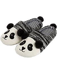 Tofern Hommes Garçon Chaussons Panda antidérapant Coton EVA éponge Chaud  Automne-Hiver Pantoufles Souple léger 028c2c001b1b