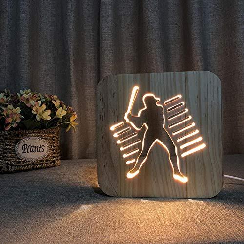 Massivholzschnitzerei Baseball Charakter Led Kreative Geschenk Nachtlicht Holzlampe Usb Lampe Kinder Nachtlicht Geburtstagsgeschenk -