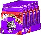 Whiskas Katzen-/Trockenfutter Adult 1+ für erwachsene Katzen mit Rind, 5 Beutel (5 x 800 g)
