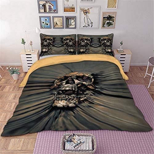 3D Sugar Skull Bettbezug Einzelner Einzigartiger Gothic Schädel Bettwäsche Set Gotische Bettdecke Bettbezüge 2 Stück Bettbezug Quilt für Erwachsene und Jugendliche 140cm * 200cm