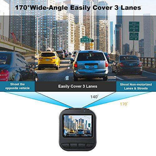 "51N5mSDkqZL - CACAGOO Dashcam Cámara de Coche 2.7""TFT LCD HD Car DVR 1080p H.264 Gran Angular 150° Sony IMX 323 Sensor detección de Movimiento Loop Recording visión Nocturna G-Sensor (170°)"