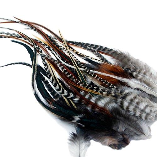 One fine day feathers - extensions in piume per capelli, 25 piume con 25 anelli per applicarle, con istruzioni