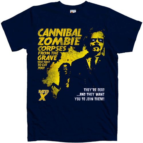 refugeek-tees-hommes-b-movie-t-shirt-cannibal-zombies-xx-large-navy