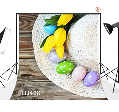 love-baby-thin-vinyl-colorful-eggs-and-straw-hat-photography-backdrops-easter-theme-background-10x10