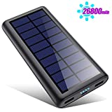 Solar Power Bank 26800mAh, HETP 【2020 Newest Solar Portable Charger】 Portable Charger External Backup Battery Pack with 2 Outputs Huge Capacity Backup Battery Compatible Smartphone,Tablet and More