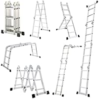 Escalera Mctech®, 6en 1,de aluminio, telescópica, 340/470cm, multiusos, con articulaciones regulables, para andamio de trabajo, 4X3 Stufen mit plattform
