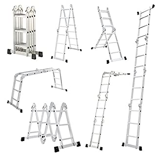 Escalera Mctech®, 6en 1,de aluminio, telescópica, 340/470cm, multiusos, con articulaciones regulables, para andamio de trabajo