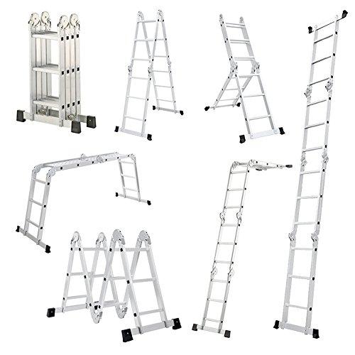 MCTECH® 6 in 1 Anlegeleiter 340/ 470cm Mehrzweckleiter Aluminium Verstellbar Klappleiter Gelenkleiter Leiter Stehleiter Leitergerüst Arbeitsbühne (4X3 Stufen mit plattform)