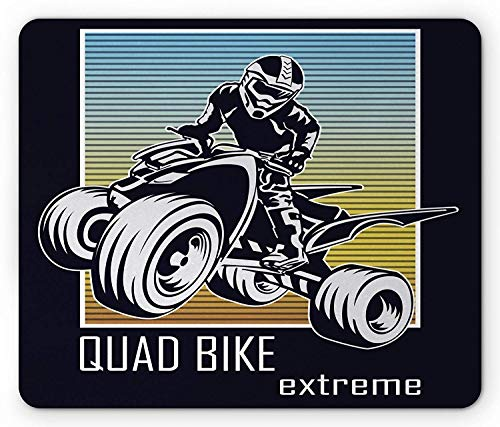 Dirt Bike Mouse Pad, Quad Bike Extreme Lettering with Silhouette Racer on Gradient Colored Background, Standard Size Rectangle Non-Slip Rubber Mousepad, Multicolor 9.8 X 11.8 inch