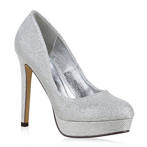 Damen High Heels Plateau Pumps Leder-Optik Braut Stilettos Abend Peeptoes Spitze Schuhe 130310 Silber Total 36 Flandell