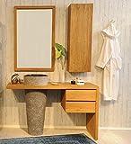 SAM Badezimmer-Set Kubu Bangli aus Teak-Holz, mit Marmor Waschbecken, Spiegel und Hängeschrank, ausdrucksstarke Maserung