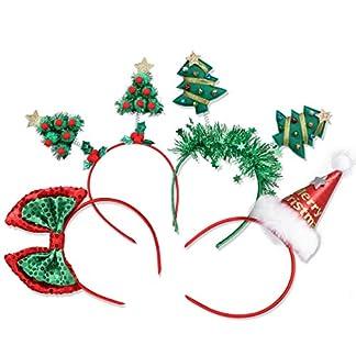Diadema de Navidad, frcolor, árbol de Navidad, gorro de Papá Noel, lazos de lentejuelas, diademas de fiesta, sombreros para niños y adultos