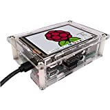 KOOKYE 3.5'' HDMI Touch Screen Transparent Acrylic Raspberry Pi Case + Coolomg Heated Sink for Raspberry Pi 2 3 B