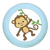 Holz Buchegriff'Affe' hellblau zartblau pastellblau pastell Holz Buche Kinder Kinderzimmer 1 Stück wilde Tiere Zootiere Dschungeltiere Traum Kind