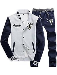 Hombre Casual Chándal Chaqueta De Beisbol Jogging Pantalon Conjuntos Deportivos 2 Piezas Amarillo XL y7eiVaskNL