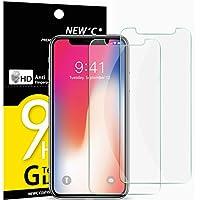 NEW'C PanzerglasFolie Schutzfolie für iPhone X, für iPhone XS, [2 Stück] Frei von Kratzern Fingabdrücken und Öl, 9H Härte, HD Displayschutzfolie, 0.33mm Ultra-klar, kompatibeliPhone X, XS