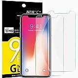 NEW'C Verre Trempé pour iPhone X, iPhone XS,[Pack de 2] Film Protection écran - Anti Rayures - sans Bulles d'air -Ultra Résistant (0,33mm HD Ultra Transparent) Dureté 9H Glass