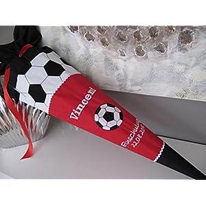 Fussball rot schwarz Schultüte Stoff + Papprohling + als Kissen verwendbar