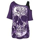SEWORLD Damen Sommer Mode Damen Kurzarm Schräghals Schräglage Kragen Schädel T-Shirt Schulter Schädel T-Shirt Tops Bluse(Violett,EU-44/CN-XL)