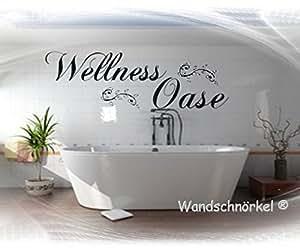 Wellnessoase Wellness Oase in SCHWARZ Wandtattoo Schlafzimmer Bad Sauna  Größe 60cm x 34cm