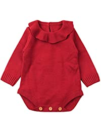 Ropa bebé, Recién nacido bebé niño niña mameluco de punto mono trajes ropa conjuntos Amlaiworld (Rojo, Tamaño:12-18Mes)