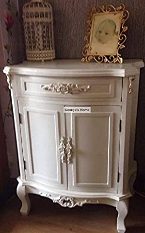 Antique French Bedroom Furniture White Shabby Chic Cupboard Small Sideboard Drawer 2 Doors Vintage Style Solid Wood Storage Unit Bedside Table Telephone Plant Lamp Stand Wooden Rustic Country Side Chest *****FREE FAST DELIVERY No Assembly Required*****
